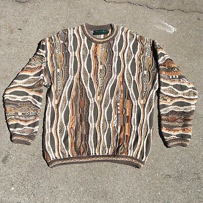 Vtg 90s TUNDRA Coogi Style Sweater Brown Tan Size Large Hip Hop Biggie
