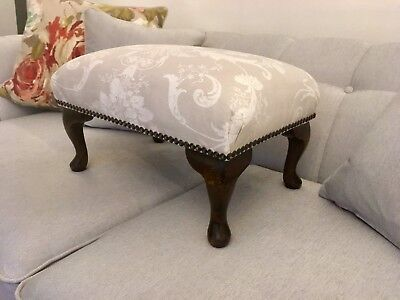 Footstool Newly Reupholstered in Laura Ashley Josette Fabric Dove Grey vintage.