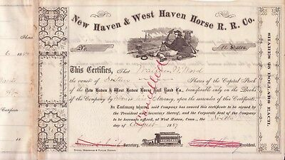 1887 New Haven & West Haven Horse Railroad Co stock certificate