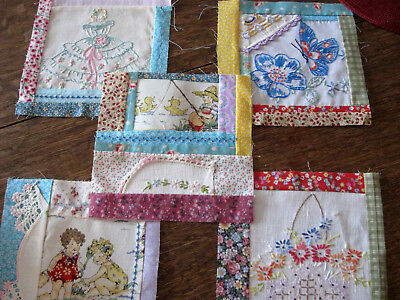 5 QUILT BLOCKS Pieces of Vintage Linens Used & Pretty Fabrics  #2