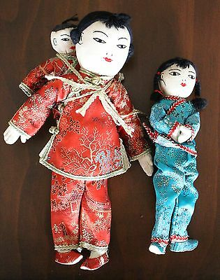 Vintage CHINESE Cloth Rag DOLLS Set 3 Baby Mother Girl Child Asian  Hong Kong