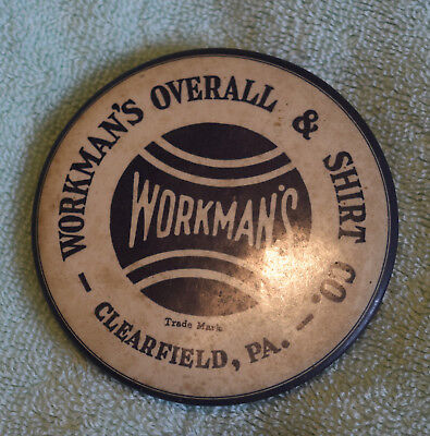 """AB-110 Workman's Overall & Shirt Co, Clearfield, PA Advertising Mirror 3.5"""" RARE"""