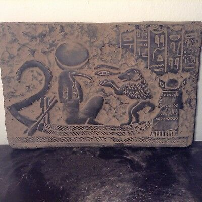 Rare Antique Ancient Egyptian stela God Toth After world Boat Baboon1279–1213BC
