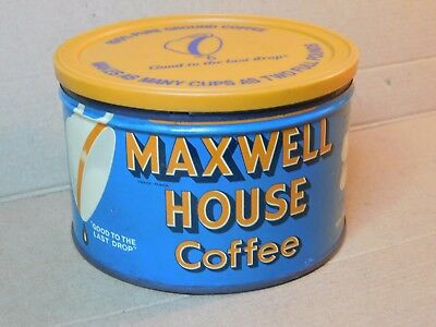 Vintage Maxwell House coffee can open empty no key