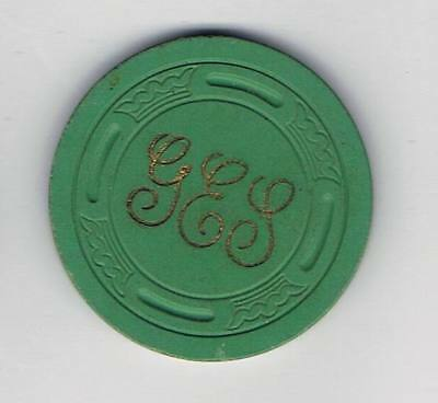 George E Seyles Illegal Casino Chip - Burbank California - Green Lgkey Mold