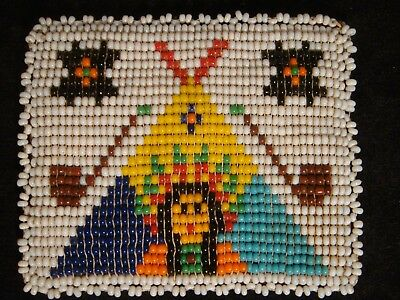 Vintage Native American Indian Beaded Coin Purse Teepee Pipe Chief