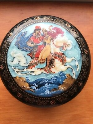 Russian Porcelain Hand Painted Fairy Tale Music Box Signed  & Dated  1990