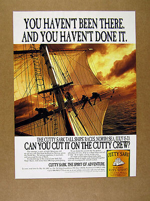 1997 Cutty Sark scotch Tall Ship North Sea Races sailing photo vintage print Ad