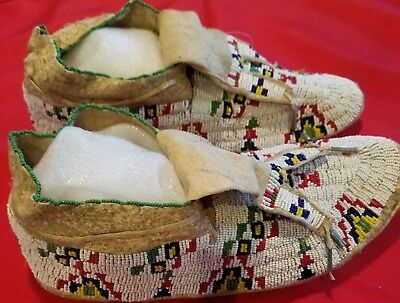 Original Vintage Sioux Fully Beaded Moccasins Late 1800s Early 1900's Adult Size