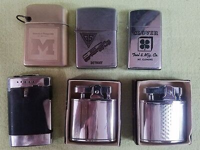 Vintage Collection of 6 Lighters, 2 CMC Continental, Zippo, Ronson, Storm master