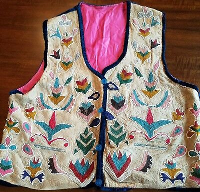 Vintage Native American Beaded Leather Hide Hand Made Vest