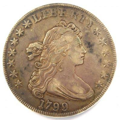 1799 Draped Bust Silver Dollar $1 - Certified ANACS XF40 (EF40) - $4,800 Value!