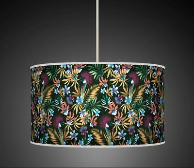 TROPICAL LEAVES BIRDS GREEN TURQUOISE  HANDMADE LAMPSHADE CEILING TABLE 928