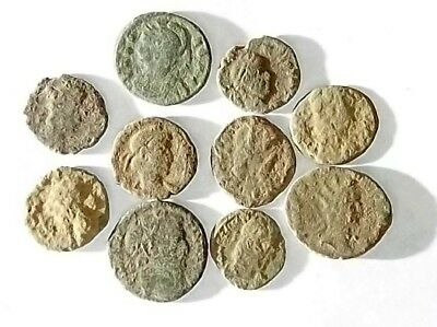 10 ANCIENT ROMAN COINS AE3 - Uncleaned and As Found! - Unique Lot 25402