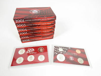 Lot Of 7 1999, 2001, 2003-2006, 2008 Us Mint Silver Proof Coin Sets In Box + Coa