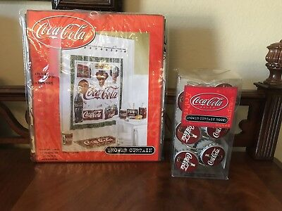 Vintage Style Coca Cola Shower Curtain And Hooks Never Used.  Coke