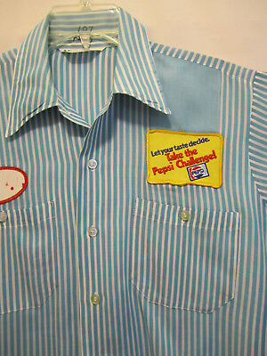 Vintage Take the Pepsi Challenge Cola Truck Delivery Uniform Shirt Halloween M