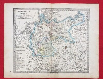 5 Germany Maps from Stieler's World Atlas Engravings from 1874