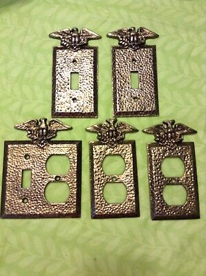 5 Vintage Patriotic Hammered Metal Switch Plate and Outlet Covers Eagle Edmar?