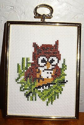 New Owl Christmas Ornament Framed Picture Handmade Finished Cross Stitch