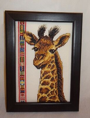 New Giraffe Head Africa Finished Cross Stitch Handmade Wood Framed Picture