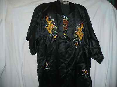 Black Chinese Robe With Fancy Dragon Embroidered Patterns Silk S