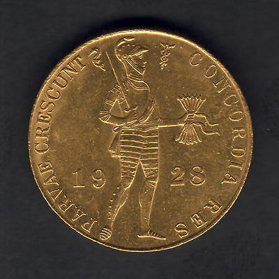 Netherlands. 1928 Gold Trade Ducat..  Full Lustre.. aU-UNC