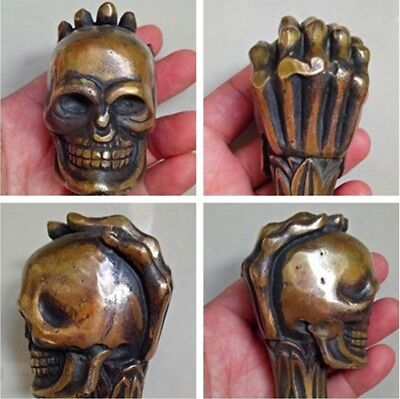 Chinese old  Handmade Carved palm skull Brass Statue Cane Walking Stick Head