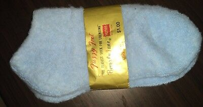 VTG HANES Red Label Women's Bootie 75% Orlon Socks - Blue, Fuzzy, New with Tags