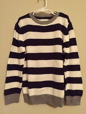 Childrens Place Boys Size 5/6 Blue White Striped Sweater long-sleeve