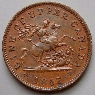 1857 PC-6D  Province Of Canada Canadian Bank Of Upper Canada Token Nice Grade!