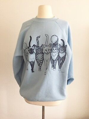 80s Retro Cats Sweatshirt, XL
