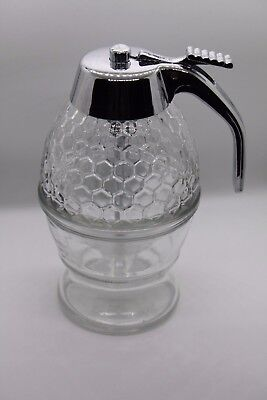 Glass Honeycomb Two Piece Syrup/Honey Pitcher 6""
