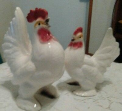 Large Vintage Japan Country Farm ROOSTER & HEN Ceramic Figurines VERY NICE!