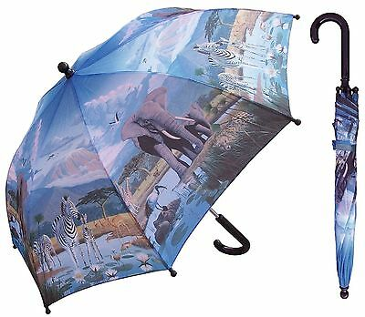 "32"" Children Kid Wildlife Safari Umbrella - RainStoppers Rain/Sun UV"