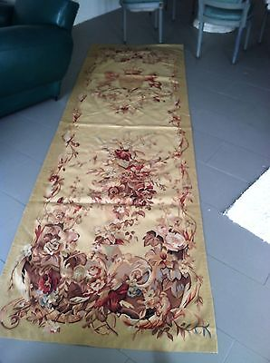 """Antique French Aubusson Tapestry 120"""" X 37"""". Early 1900's Handmade Wool"""