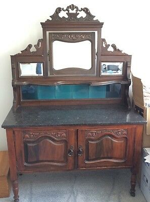 Antique Victorian Mahogany Wash Stand, Marble Top. Colchester.