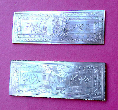 2 Anique Pearl Sewing Thread Winders,engraved Figure Scene Sides,oblong