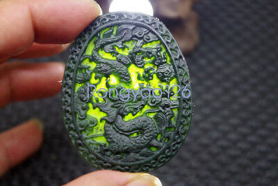 Chinese Natural black jade carved Zodiac dragon statue jade pendant