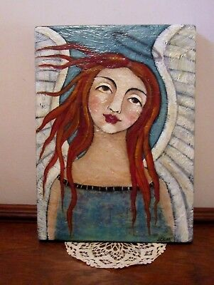 "Lovely Angel Folk Art Painting On Wood~Collage~ 14-3/4"" X 10-3/4""~ Signed L.crum"