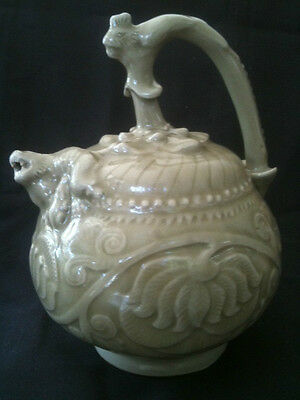 Vintage Reproduction Yaozhou Celadon Wine Pot Suckling Lion Spout Phoenix Handle