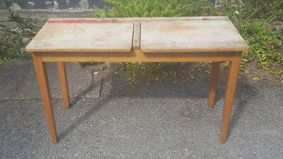 A Collectable Retro Mid Century Industrial Style Double School Desk by Esavian