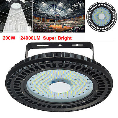 200W UFO LED High Bay Light Factory Warehouse Industrial Gym Shed Lighting 240V