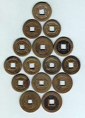 China. Assortment of various Bronze CASH Coins x 15 pces.. c1750s-1830s. aF-VF