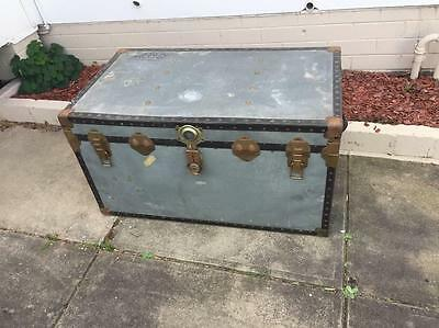 Vintage Industrial Shipping Trunk Steamer Chest Coffee Table Silver Metal Large