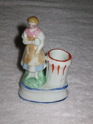 "Antique/Vintage  China Figurine Girl - Match & Toothpick Holder - 4"" Height"