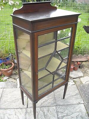 Display Cabinet. Inlaid Edwardian with shelves and key, in good order