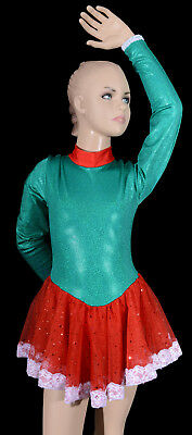 Girls Green Red Skirt Dance Costume, Girl's Cal Cheer Skating Leo Xmas Christmas