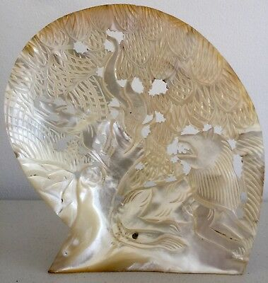 Antique Hand Carved Mother Of Pearl Shell Lion Gazelle Japanese Chinese Asian?