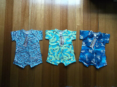 NEW WITH TAGS! Bonds Boys Zip Romper Wondersuits x3 Size 00 (3-6mths) RRP$68.85